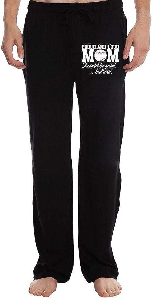 Long Sweatpants Mens Casual Proud Loud Baseball Mom 100/% Cotton Sports Pants