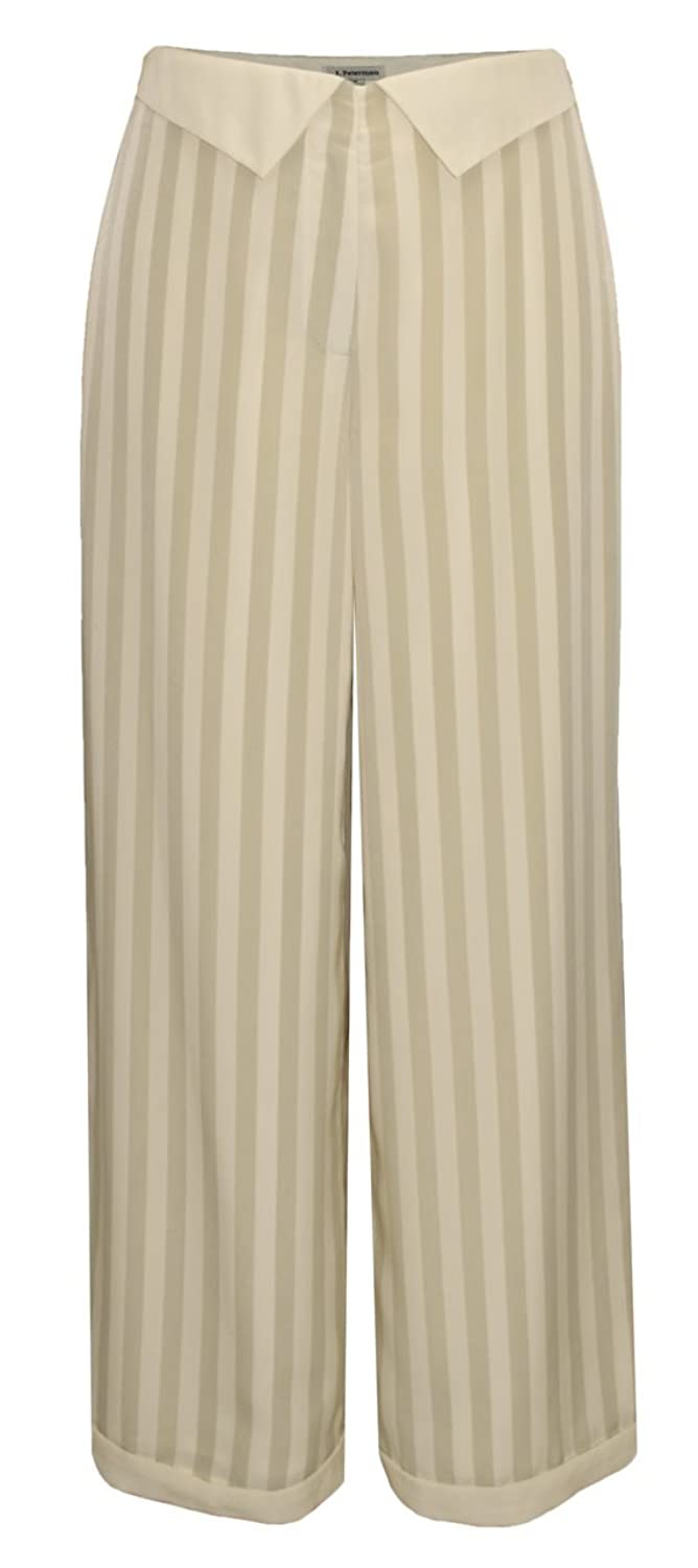 1930s Women's Pants and Beach Pajamas Point Collar Striped Pants $68.97 AT vintagedancer.com