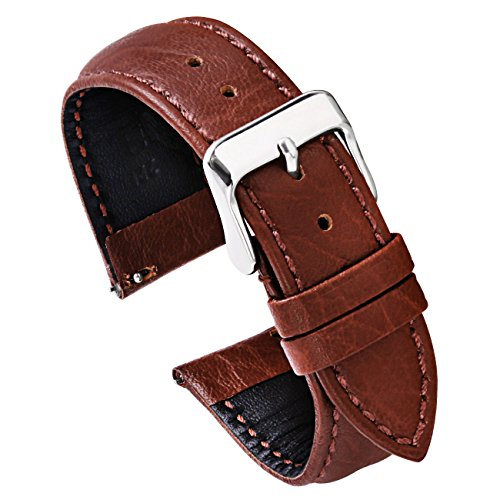PBCODE Watch Strap 22mm Quick Release Watch Band Leather Watch Strap Replacement for Watches and Smartwatches – Brown - Replacements Strap Watch Bvlgari