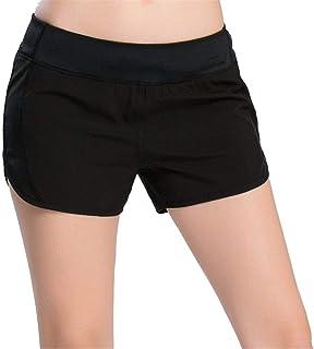 QINB Pantaloncini Neri Aderenti Stretti da Donna/Pantaloncini Sportivi da Allenamento da Corsa Estivi/Pantaloni Foderati Anti-Luce