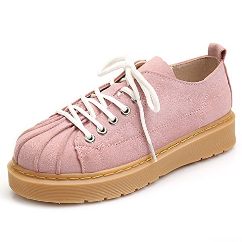 Cybling Moda Western Lace Up Oxford Zapatos Para Mujer Bajo Top Round Toe Heels Oxfords Pink