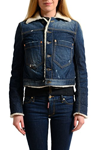 Dsquared2 Leather Jeans - Dsquared2 100% Calf Leather Distressed Denim Women's Shearling Jacket US S IT 40