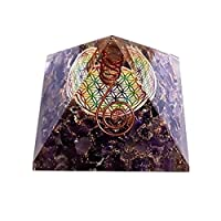 Orgonite with Pyramid shape with Multicolour Flower of Life -Amethyst Violet
