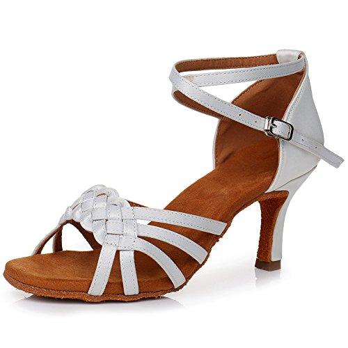 Swdzm tacón 7cm Baile ballroom Blanco Modelo latin Mujer De lp218 Zapatos qq67a