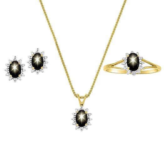 Amazon diamond black star sapphire set ring earring diamond black star sapphire set ring earring pendant necklace 14k yellow or aloadofball Choice Image