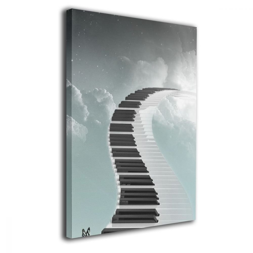 TRdY Page Piano Keyboard Painted Canvas Inner Framed Wall Decor Modern Artwork for Office Home Decor Pictures Ready to Hang for Living Room Bathroom