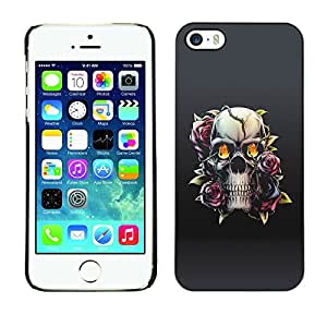 MOBMART Carcasa Funda Case Cover Armor Shell PARA Apple iPhone 5 / 5S - Floral Fire Skull