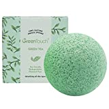 Green Tea Cleansing Effect - GreenTouch Konjac Sponge All Natural Deep Facial Cleansing with Green Tea Essence for Sensitive or Acne Skin Round-Shape
