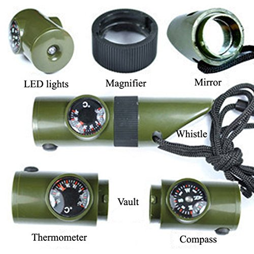 1Pc Ornate Popular Keychain 7in1 LED Flashlight Keyfob Survival Thermometer Portable Storage Color Olive - Eyeglasses Austin