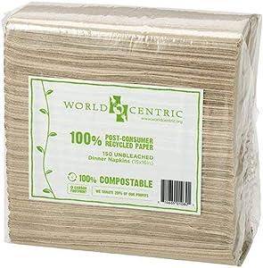 World Centric's 100% Biodegradable, 100% Compostable 100% PCW 2-PLY Dinner Napkins (5 Packs of 150 Napkins)