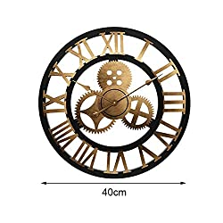 VAWAA Wall Clock 3D Retro Rustic Decorative Luxury Art Big Gear Wooden Vintage Large Handmade Oversized Wall Clock for Gift 20 Inches