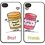 iPhone 5, Lot de 2, BFF Best Friends Forever Lover Housse étui coque en caoutchouc à clipser pour Apple iPhone 5 5S (Beurre d'arachide et Gelée sont Best Friends)