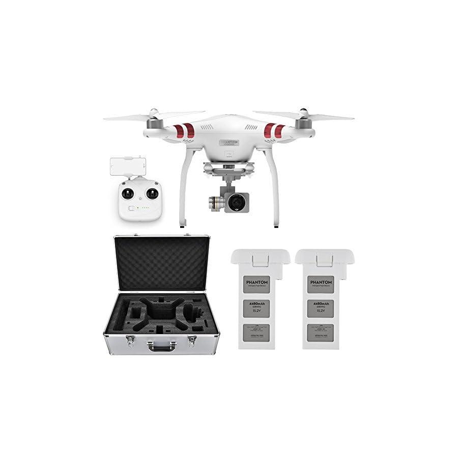 DJI Phantom 3 Standard Quadcopter Aircraft with 3-Axis Gimbal and 2.7k Camera, – Bundle With Spare Battery, DJI Aluminum Case