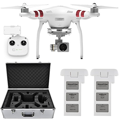 DJI Phantom 3 Standard Quadcopter Aircraft with 3-Axis Gimbal and 2.7k Camera, - Bundle With Spare Battery, DJI Aluminum Case