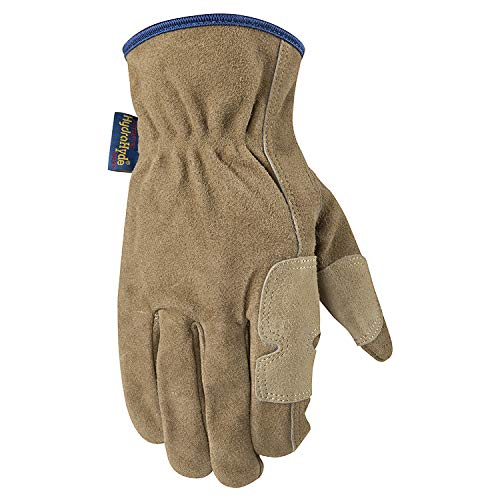 Men's Heavy Duty Genuine Leather Work Gloves, Water-Resistant HydraHyde, Large (Wells Lamont 1019L)