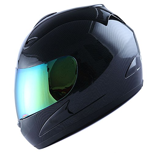Motorcycle Street Bike Fiber Carbon Black Full Face Adult Helmet + Bonus: One Clear Lens
