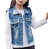 Merrybaby Girls Denim Vest Pearl Burr Childs Short Vest Jacket 4-15Years