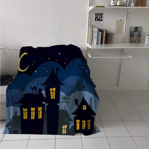 maisi Halloween Warm Microfiber All Season Blanket Old Town with Cat on The Roof Night Sky Moon and Stars Houses Cartoon Art Print Artwork Image 60x50 Inch Black Yellow Blue -
