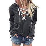 Egmy 2017 Women Hoodie Sweatshirt Lace Up Crop Top Coat Sports Pullover Tops (L, Black)