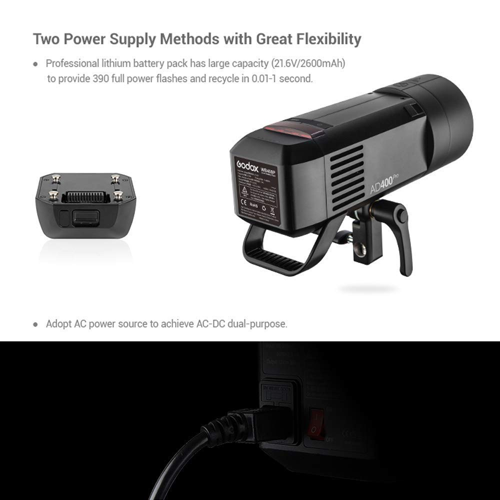 Godox AD400Pro Witstro All-in-One Outdoor Flash 400ws Strong Power,0.01~1s Recycle Time,12 Continuous Flashes in 1/16 Power Output,30w LED Modeling Lamp,390 Full Power Pops,Stable Color Temperature by Godox (Image #4)