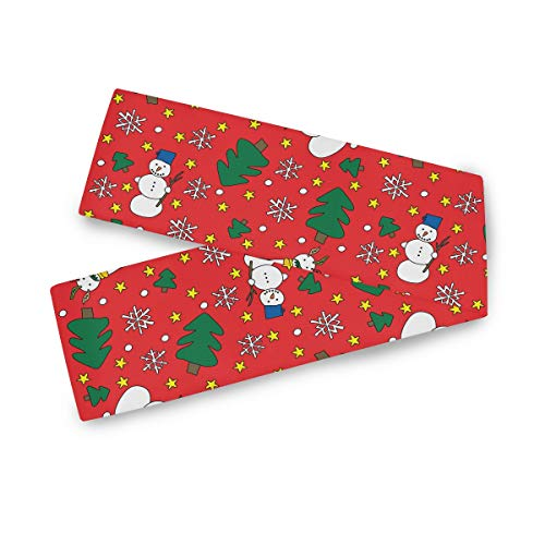 AGONA Red Winter Snowmen Snowflakes Pine Trees Christmas Polyester Table Runner 13 x 90 Inches Double Sided Long Table Linens Cloth Top for Dinner Dining Party Wedding Kitchen Home Decor (Round Pine Dining Extending Table)
