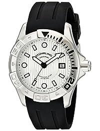 Stuhrling Original Men's 718.01 Aquadiver Regatta Manta Ray Swiss Quartz Professional Diver Silver Dial Rubber Strap Watch