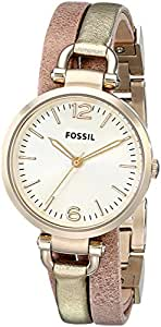 Fossil Women's ES3410 Georgia Gold/Rose Leather Watch