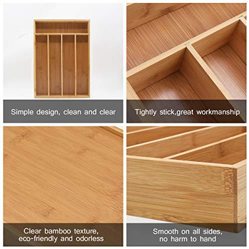 Keyfun Organizers 5-Slot Bamboo Cutlery Drawer Organizer by Keyfun (Image #7)