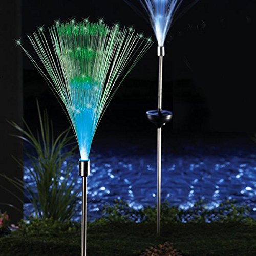Jess solar fiber optic color changing garden stake light nightlight lamp bright glowing lighting for Solar garden stakes color changing