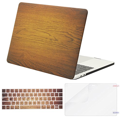 MOSISO MacBook Pro 13 inch Case 2019 2018 2017 2016 Release A2159 A1989 A1706 A1708, Plastic Pattern Hard Shell & Keyboard Cover & Screen Protector Compatible with MacBook Pro 13, Brown Wood Grain