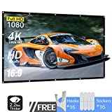 120 Inch Projector Screen 16:9 HD 4K Portable Foldable Indoor Outdoor Movie Projection Screen,Support Double Sided Projection,Suitable for Home Theater Gaming Office Presentation Education