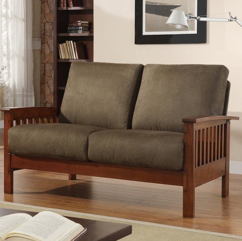 Tribecca Home Hills Collection Oak and Olive - Fabric Loveseat Oak