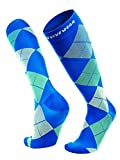Knee high compression sock by Revivewear - For men & women, athletic fit for sports, running, maternity and pregnancy argyle design (1 Pair), Multicoloured, X-Large