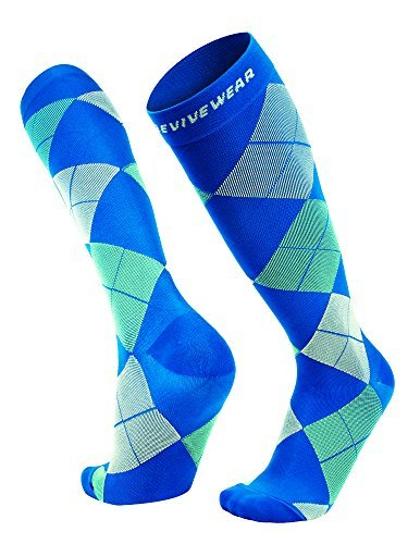 Knee high compression sock by Revivewear - For men & women, athletic fit for sports, running, maternity and pregnancy argyle design (1 Pair), Multicoloured, X-Large by Revivewear (Image #1)