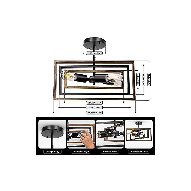 Rustic Semi Flush Mount Ceiling Light, Farmhouse Vintage Ceiling Light Fixture 3-Light Retro Industrial Lighting for…