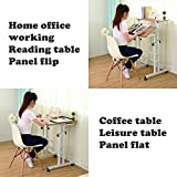 SDADI 2 Inches Carpet Wheel Mobile Stand Up Desk Height Adjustable Home Office Desk With Standing and Seating 2 Modes 3.0 Edition Dark Grain