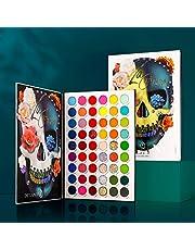 Afflano paleta cieni do powiek, 54 kolory, paleta cieni do powiek – czerwony, zielony, niebieski, liliowy, wysoka pigmentacja + neonowe cienie do powiek, kremowe, duże, na Halloween