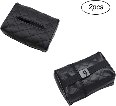 gotyou 2 pieces Car Leather Sun Visor Tissue Holder,Black Multi-use Car Back Seat Headrest Hanging Tissue Holder Case Box,Car Accessories and Paper Tissue Box Storage Containerfor Car//Vehicle
