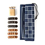 The Original Double-Sided Travel Backgammon & Checkers Game-bag Set, Navy/White