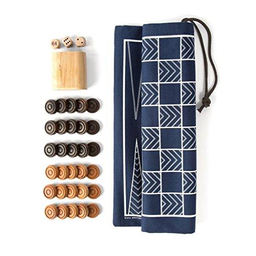 Sided Travel Backgammon & Checkers Game-bag Set, Navy/White (Latigo Brown Wood)