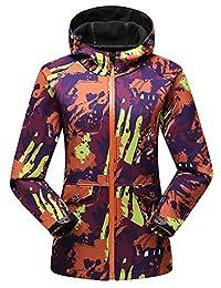 Women's Camouflage Hooded Soft Shell Waterproof Jacket Fleece Urban Casual Coat