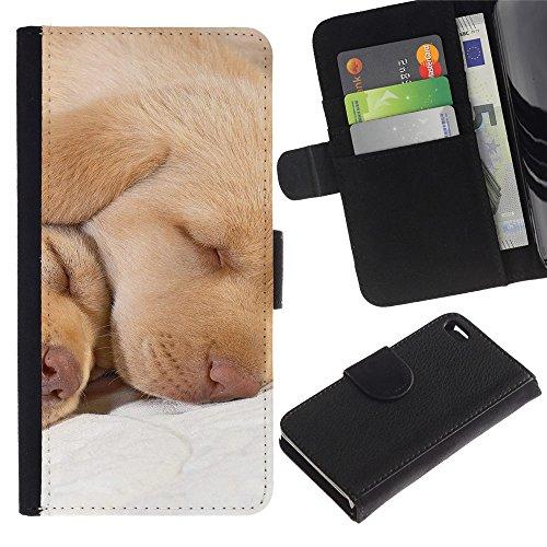 LASTONE PHONE CASE / Luxe Cuir Portefeuille Housse Fente pour Carte Coque Flip Étui de Protection pour Apple Iphone 4 / 4S / Labrador Retriever Lab Puppy Sleeping