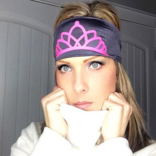 Hippie Runner Princess Crown- Black with Pink Crown. Headbands The #1 Choice for Athletes! No Slip, No Drip Headbands for Running, Walking, Exercise Or Fashion!
