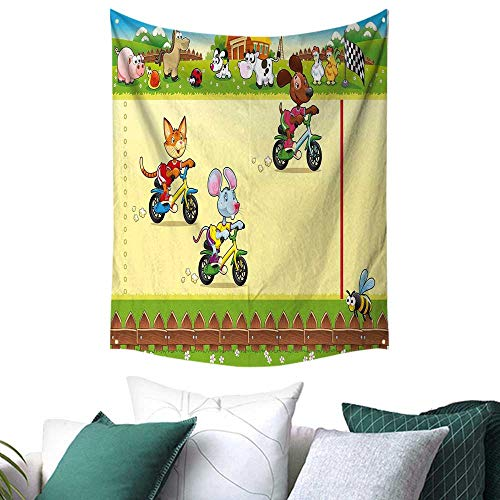 Kids Tapestry for Bedroom Racing Mouse Cat and Dog on The Bike in Farm with Animal Comic Caricature Illustration Gift for Sheet/Blanket 54W x 72L INCH Multicolor