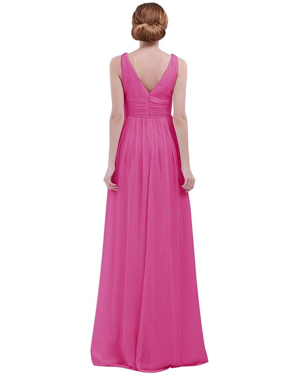 Rose Taille UK 16     12 MJY Mode féminine sans hommeches col en V profond en mousseline de soie demoiselle d'honneur robe de soirée,corail,Taille UK 14     10
