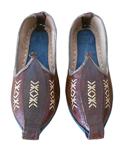 En De Marron Hommes Creations Chaussures Indien Traditionnel Flâneur Cuir Kalra wAqPUZnc