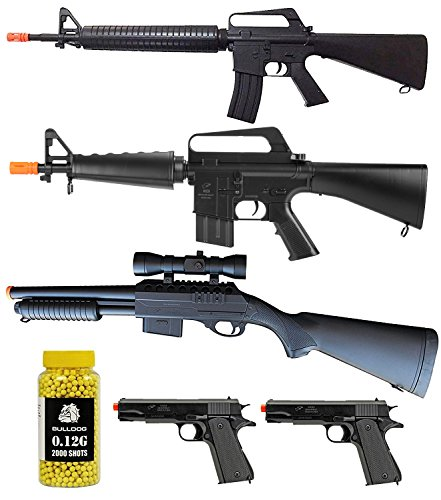 A&N Airsoft Gun Package - PACK OF 6 -Collection of Airsoft Gun - Power Airsoft Spring Rifles, Pistols, Shotgun And Bulldog BB Pellets- Great Airsoft Starter Packs by A&N