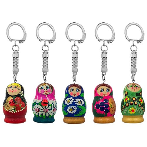 - BestPysanky Set of Five Assorted Matryoshka Wooden Russian Nesting Dolls Key Chains