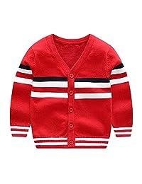 CJ Fashion V Neck Toddler Boy Cardigan Sweater Long Sleeve Knit Jacket Fall 2-7T