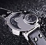 Aposon-Mens-Dual-Time-Quartz-Analog-Wrist-Watch-with-Unique-Dual-Dial-DesignSteel-CaseComfortable-Leather-BandTwo-Time-Zone-Black